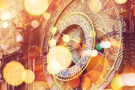 50260230 - prague astronomical clock on old town square, famous tourist landmark with vintage retro tone effect and bokeh light
